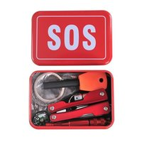 camping equipment - Outdoor equipment emergency bag field survival kit box self help box SOS equipment for Camping Hiking saw fire