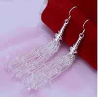 Cheap fashion new arrival free shopping Mix Order hot style silver plated Links18 wire earrings Dangle Chandelier jewelry for women wedding STe217