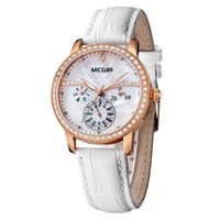Wholesale Megir Luxury Week Date Hours Luminous Rhinestone Genuine Leather Strap Women Watches Clock Time Lady Fashion Relogio Feminino