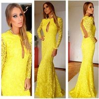 Cheap 2015 Ready To Wear Yellow Long Sleeve Prom Dresses Crew Sexy Backless Long Lace Evening Formal Gown Clubwear Cocktail Women Casual Gowns QM
