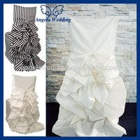 Wholesale CH003 polyester ruffled striped wedding standard chiavari gathered chair cover