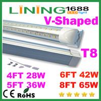 Wholesale V Shaped ft ft ft ft Cooler Door Led Lights Tubes T8 Integrated Led Tubes Double Sides SMD2835 Led Fluorescent Lights AC V
