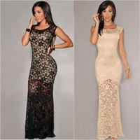 Wholesale New Casual Floral Crochet Lace Bandage Dress Sexy Summer Women Dress Long Slim Sexy Bodycon Party Dress Beige Black