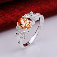 Wholesale New Jewelry Rings Red Orange sterling silver r648 gift New styles