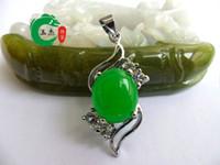 Wholesale Hot Sell Tibet Silver Green Jade Malay jade pendant Silver Necklace Pendants Bridal Girl Boy Jewelry women MEN pendants