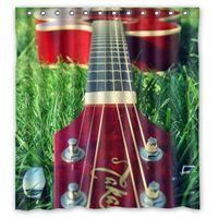 bath guitar - Polyester Shower Curtain Waterproof Print Beautiful Guitar On The Grass Photo Decorative Bath Screen quot x quot