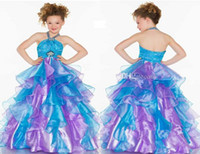 Cheap Colorful Beaded A Line Flower Girls Dresses Halter Sleelveless Zipper Floor Length Draped Tiered Pageant Dresses For Teens