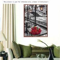 cross stitch fabric - DIY Handmade D Diamond Embroidery Painting Set Roses River Resin Rhinestone Pasted Cross Stitch for Home Decoration Decals H15293