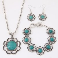 ancient flower bracelets - Fashion Metal Ancient Stone Flower Jewelry Sets For Women Necklace Bracelets Earrings Sets New Design