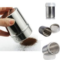 Wholesale Stainless Steel Chocolate Shaker Cocoa Flour Salt Powder Icing Sugar Cappuccino Coffee Sifter Lid