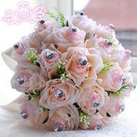 Cheap Beauty In Stock Wedding Bouquets Pink Crystal Silk Rose Bridal Bridesmaid Wedding Bouquet Handmade Wedding Decoration 2015 Cheap Hot Sale