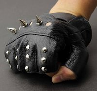 Wholesale Men s Leather Metal Stud Biker Punk Rocker Driving Motorcycle Fingerless Gloves