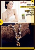 Cheap 2015 Natural Birthstone Pendant Necklace 925 Sterling Silver Honey Yellow Citrine Necklace jewelry Women Crystal Necklaces