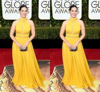 america navy - High Neck Yellow Celebrity Evening Dresses America Ferrera Plus Size Beading Beaded Ruffled Chiffon Prom Dresses Floor Length Evening Gowns