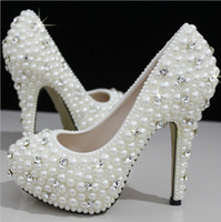 Wholesale Beautiful Vogue Crystals and Pearl cm Heels Wedding Bridal Shoes