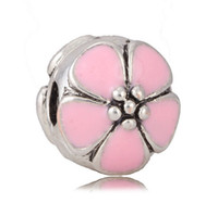 Wholesale 8 Colors Antique Silver Enamel Daisy Flower Clip Charms For Pandora Style Jewelry