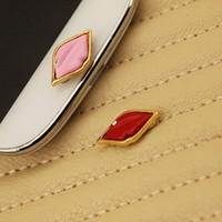 Wholesale 1pc Alloy Lips Cute and Sexy Small Cellphone Accessory for Women Home Button Sticker for Samsung
