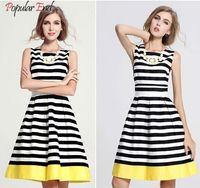 shirt puff sleeve - Women Strip Stripe Dress Cotton sleeveless sexy Shirt Vestidos Party Tunic Elastic Strap Dresses Plus size sk09