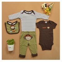 baby crawling age - Two Pieces With Saliva Towel Baby Stripes Suits Fashion Triangle Crawling Clothes For Age Baby Cartoon Long sleeved Outfits