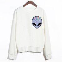 Cheap EAST KNITTING 2015 New Winter Women Punk Funny Alien Printed Sport Sweatshirt Cheap Clothing