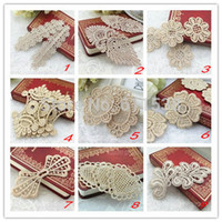 Wholesale embroidery lace for clothing gold embroidery lace patch motif for headband and diy clothinging MOQ