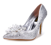 Wedding big pumps - 2016 New brand High heels CM Wedding Shoes shiny crystal shoes pointed Women shoes rhinestone Bridal shoes big size US4 US8 NSHX