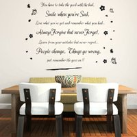 bad pictures - Smile when you re bad quote wall stickers butterflies flower vinyl wallpaper home decoration stickers adesivo de parede picture
