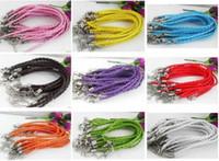 al por mayor cuero brazalete mixto cuerda-¡Caliente! 100pcs libre de la torcedura del color cuerda cordón de cuero brazalete de las pulseras de moda 16CM / 17CM de / del 18CM / 19CM / 21CM de