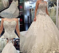 Wholesale 2015 New Modest Crystals Wedding Dresses Appliques Beads Halter Bow Falbala A Line Chapel Train White Bridal Gowns Good Quality Stain
