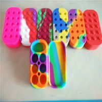 Wholesale 6 Food Grade Silicone Jars Dab Wax Container Square Silicone Concentrate Container
