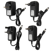 Wholesale Top Quality UK EU AU US DC V A Adapter Charger Power Supply For LED Strip Light Video mm mm Black Color