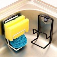 bamboo kitchen items - 1 Iron Sink Sponge Brush Suction Wall Multi purpose Holder Double Bathroom Kitchen Washing Cleaning Item Storage Organizer