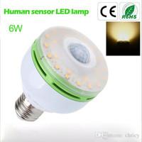 Wholesale LED sensor lights E27 base W warm white LED bulb body sensor LED lamp leds epistar chip AC90 V energy saving intelligent bulb