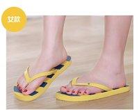 Wholesale Hot style classic striped beach slippers couple sandals Flip flops Durable comfortable color Material PE solid color PVC belt HK
