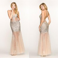 Cheap Sexy Beaded Spaghetti Straps Mermaid Prom Dresses 2015 Sheer Panels Long BGhaute Tulle with Sequins Floor Length Formal Evening Gowns Hot