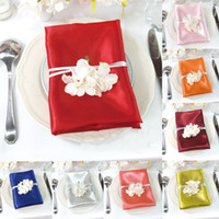 Wholesale New Arrival quot Square Satin Dinner Napkins Wedding Banquet Party Table Decoration Cloth Napkin Colors Available