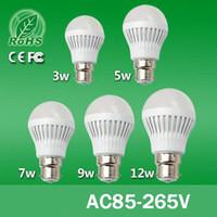 Bombilla Súper Brillo B22 E14 E27 3W 5W 7W 12W 85-265V SMD5730 luz LED Ball Cálido Bombilla Fría lámpara LED blanco Servicio de Larga Vida barato de la lámpara