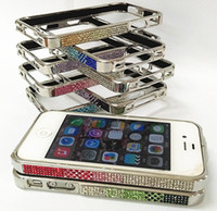 Wholesale 4S Luxury Rhinestone Bumper for Apple iPhone s G Crystal Diamond Metal Case bumper Fashion Frame Casing Retail Package for iphone4s