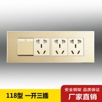 Wholesale Excellent Fox A3 switch socket switch with an open three plug socket wall switch panel champagne gold brushed type