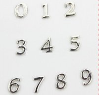 number charms - Hot selling silver number floating charms living glass floating lockets number per