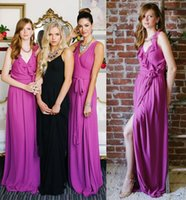 Cheap Reference Images Purple Bridesmaids Dresses Best A-Line V-Neck Convertible Dresses