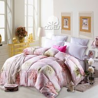 Wholesale Winter pastoral flower pink goose down comforter queen king full twin size comfortable and warm quilt set kgs