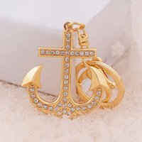 anchor pendents - Anchor Rhinestone Keychains Women Bag Pendents Wallet Accessories Gold Color Delicate Fine Gift