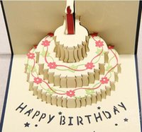 Wholesale New Arrive Festival Birthday Cake with Candles Celebration D Cards Greeting Cards Gifts