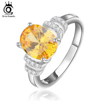 Wholesale ORSA AAA Austrian Cubic Zircon Rings Platinum Plated Fashion Brand Anniversary Jewelry for Women OR52