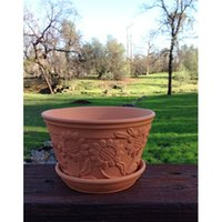 terra cotta pots - Raised Sunflower Embellished Natural Terra Cotta Garden Pot with Tray