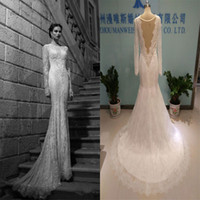 Wholesale Long Sleeves Lace Wedding Dresses Beaded Bateau Neckline Real Image Wedding Gowns Floor Length Bridal Dress
