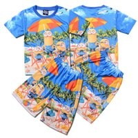 american bathing suit - PrettyBaby summer boy minions beach shorts despicable me T shirts tops tees shorts kid minions swimsuit bathing suit set