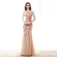 beaded branches - Sexy Champagne Tulle Prom Dresses With Red Sequins and Beads Branches Illusion Evening Dresses Mermaid Style Long Formal Party Gowns Custom