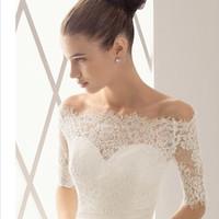 accessories wraps wedding - 2016 New Lace Off Shoulder Alencon Lace Bolero Jacket Illusion Half Sleeve Jackets Bridal Shrug Bride Wraps Wedding CPA372 accessories Shawl